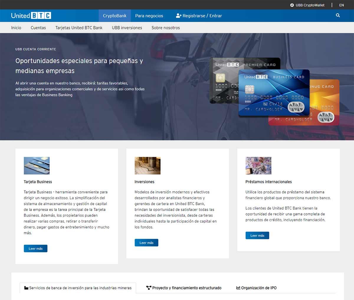 Página web de UnitedBTC Bank