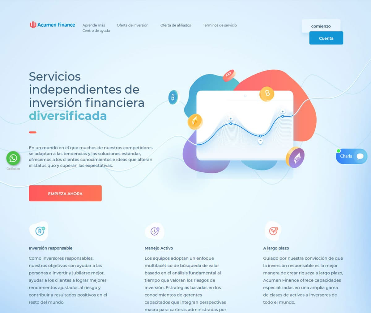 Página web de Acumen Finance