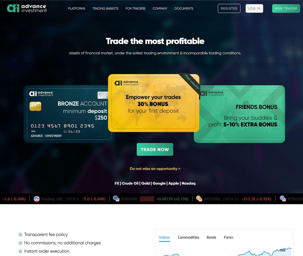 Página web de Advance Investment