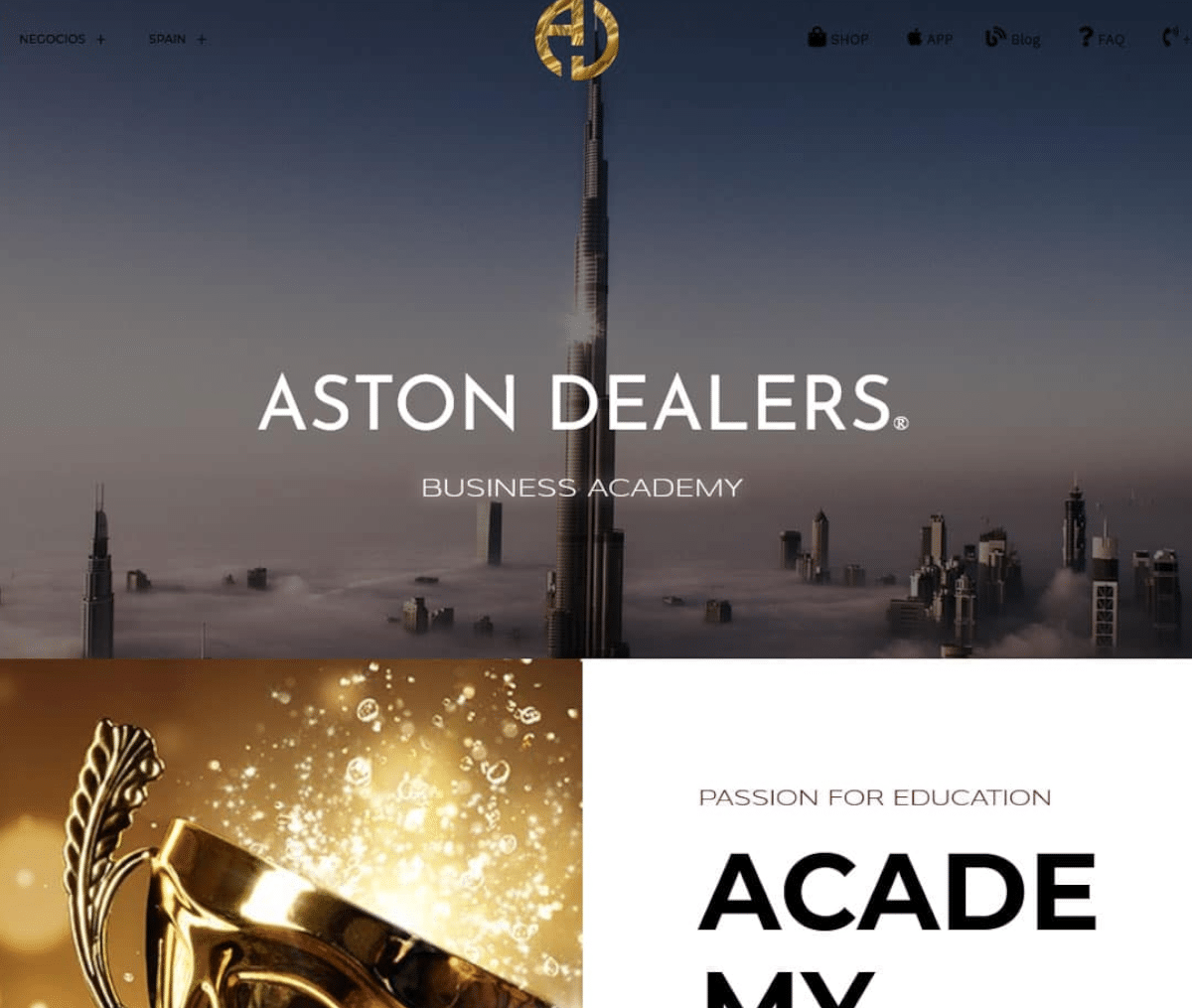 Página web de Aston Dealers