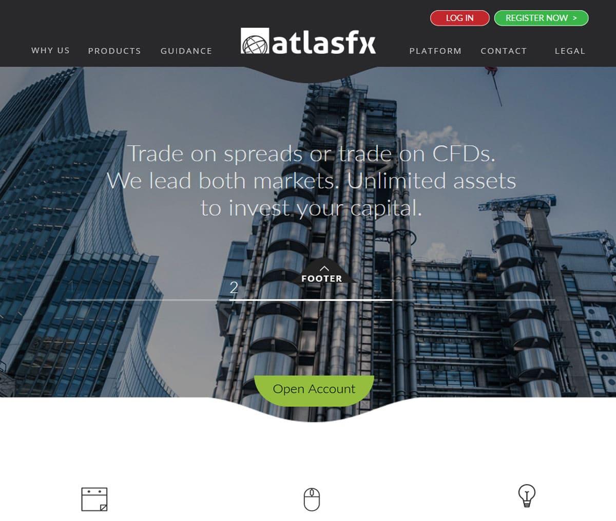 Página web de AtlasFX