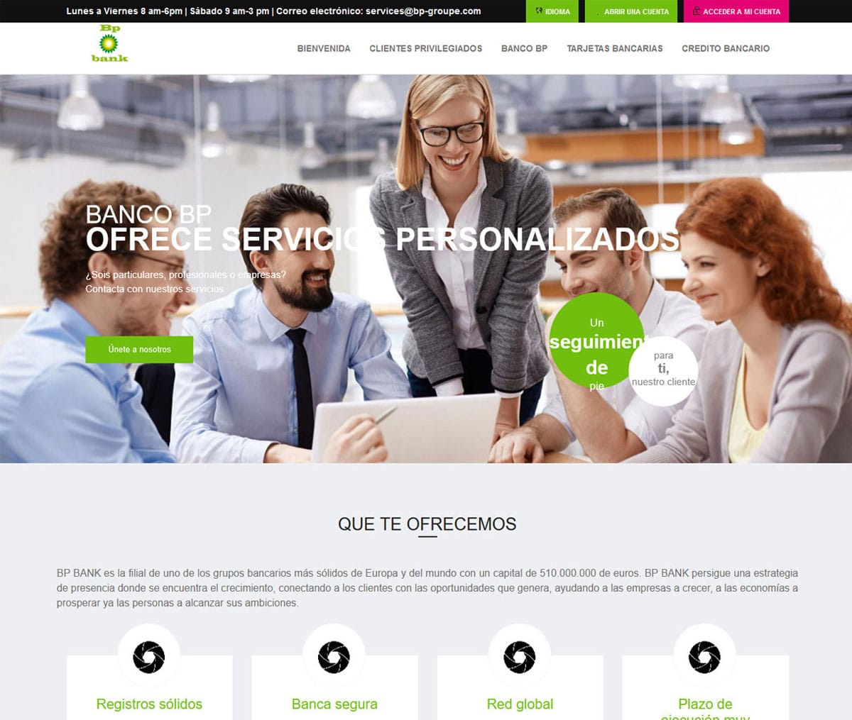 Página web de BP BANK