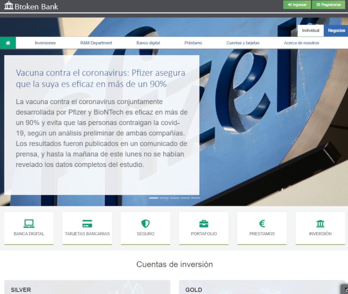 Página web de Btoken Bank