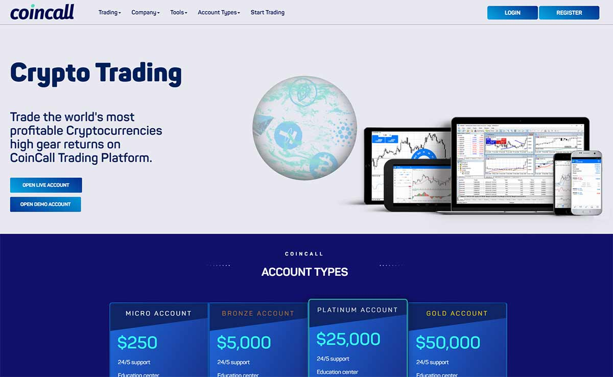 Página web de Coincall