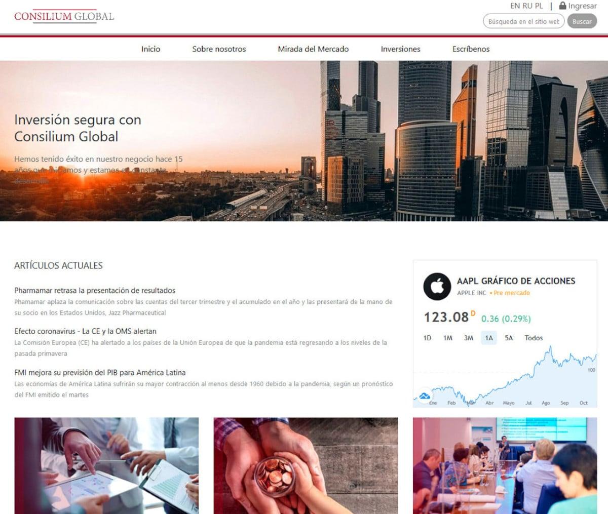 Página web de Consilium Global