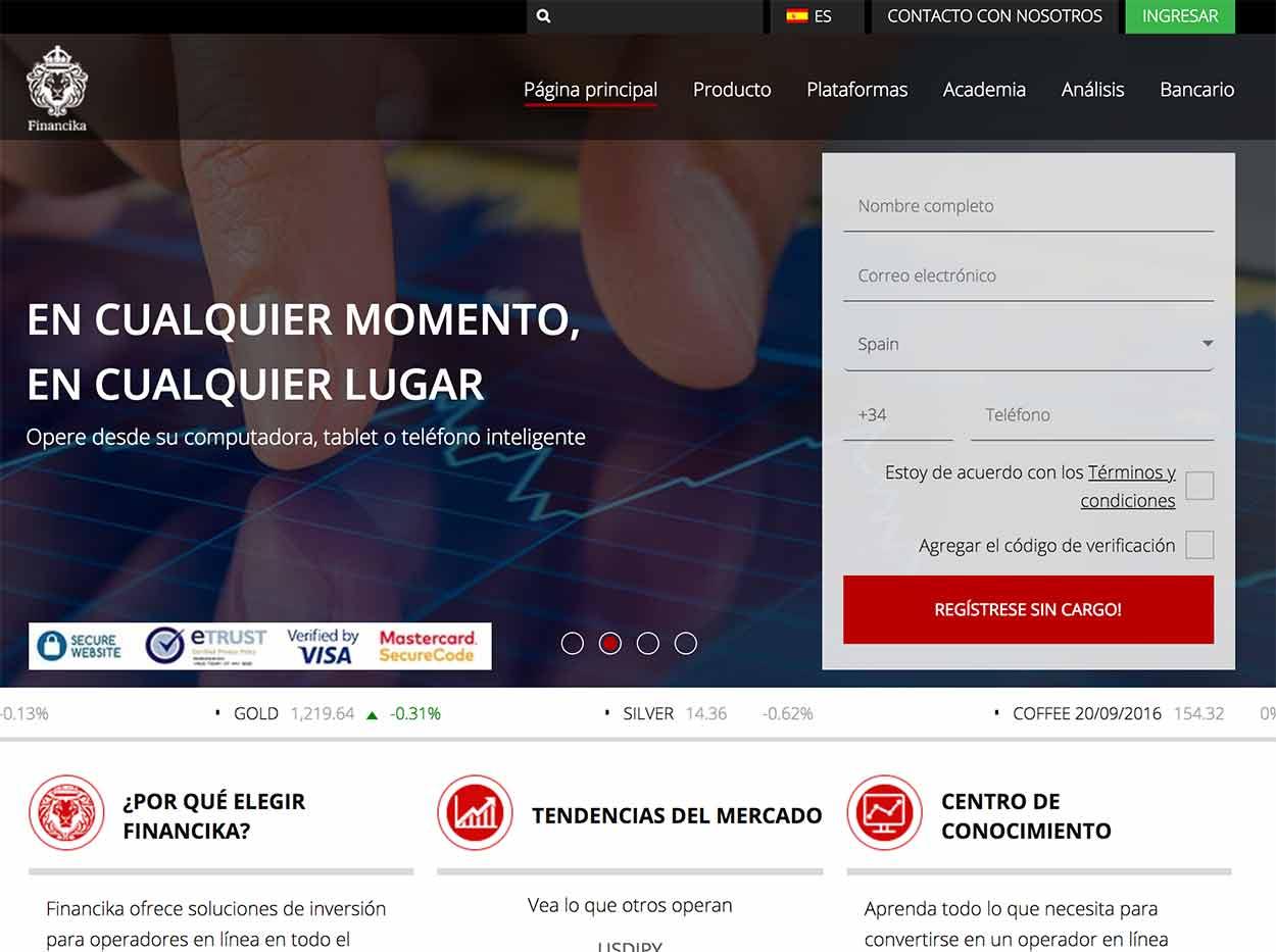 Página web de Financikatrade