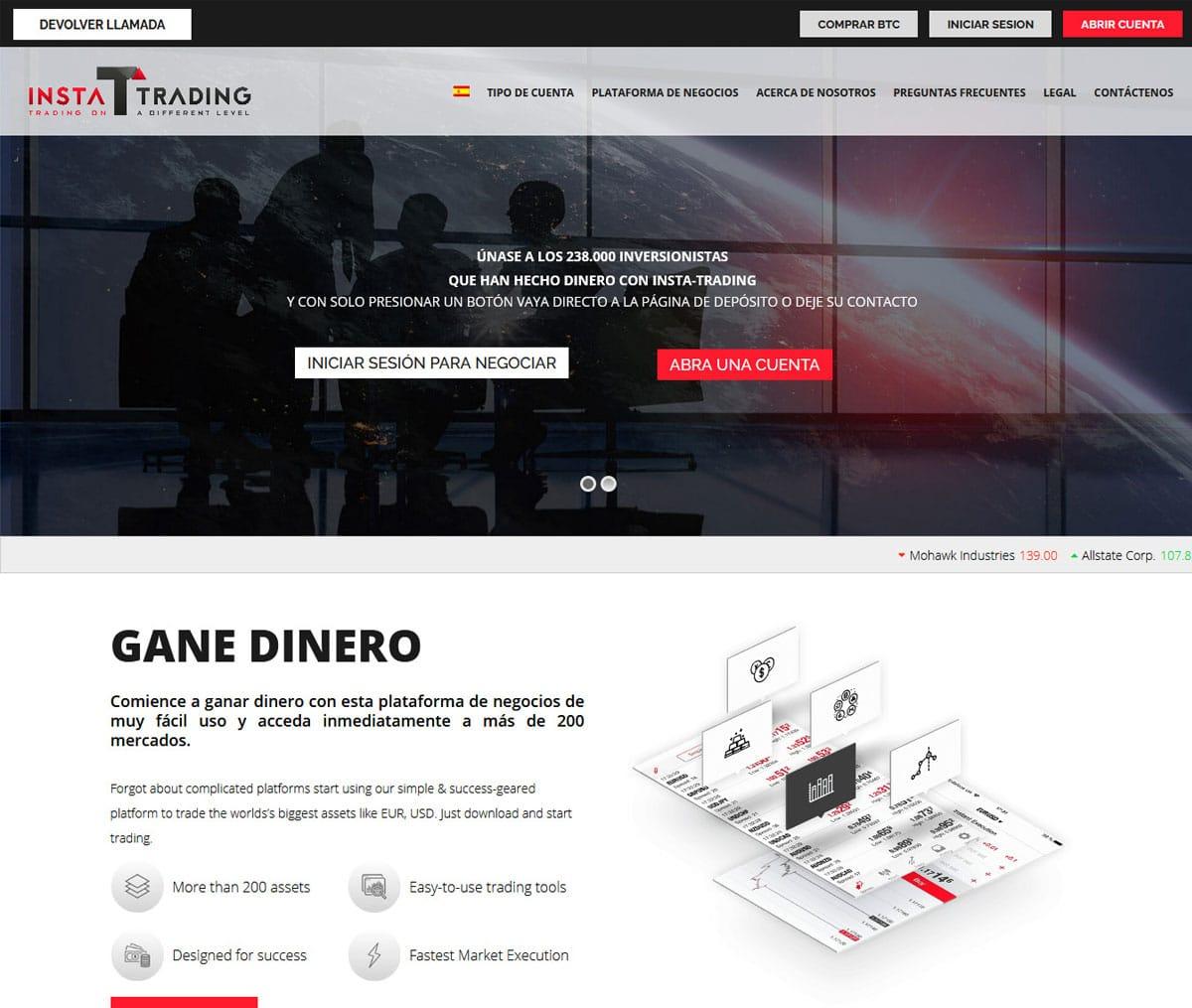 Página web de Insta-Trading