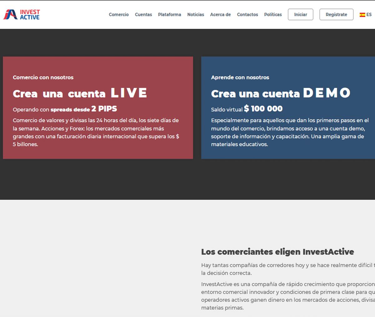 Página web de InvestActive