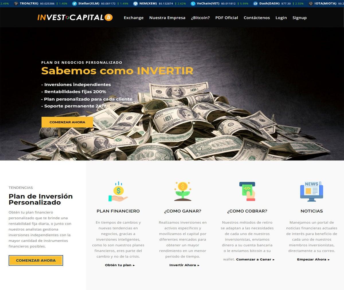 Página web de Invest Capital BTC