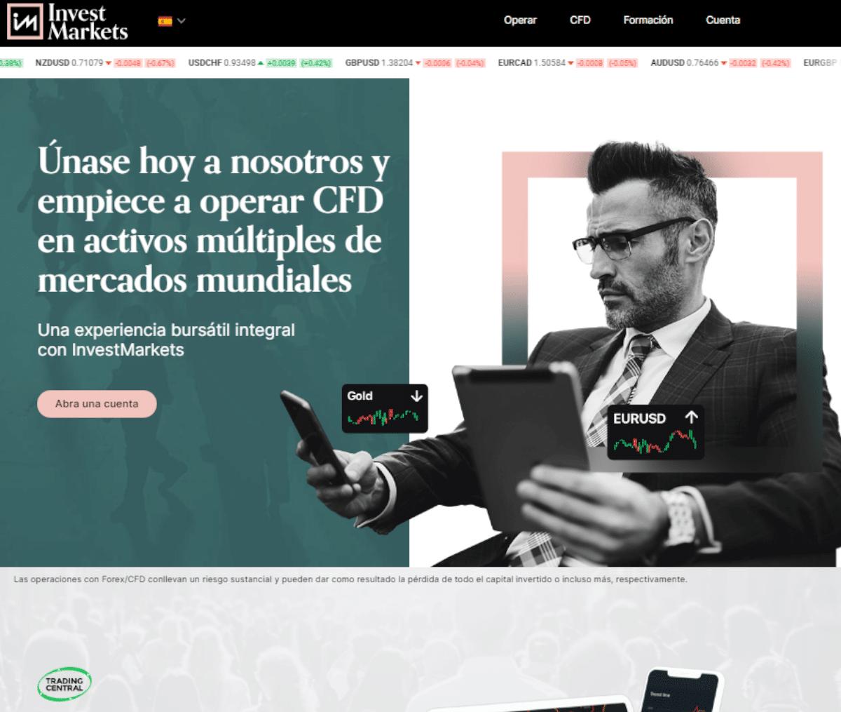 Página web de Invest Markets
