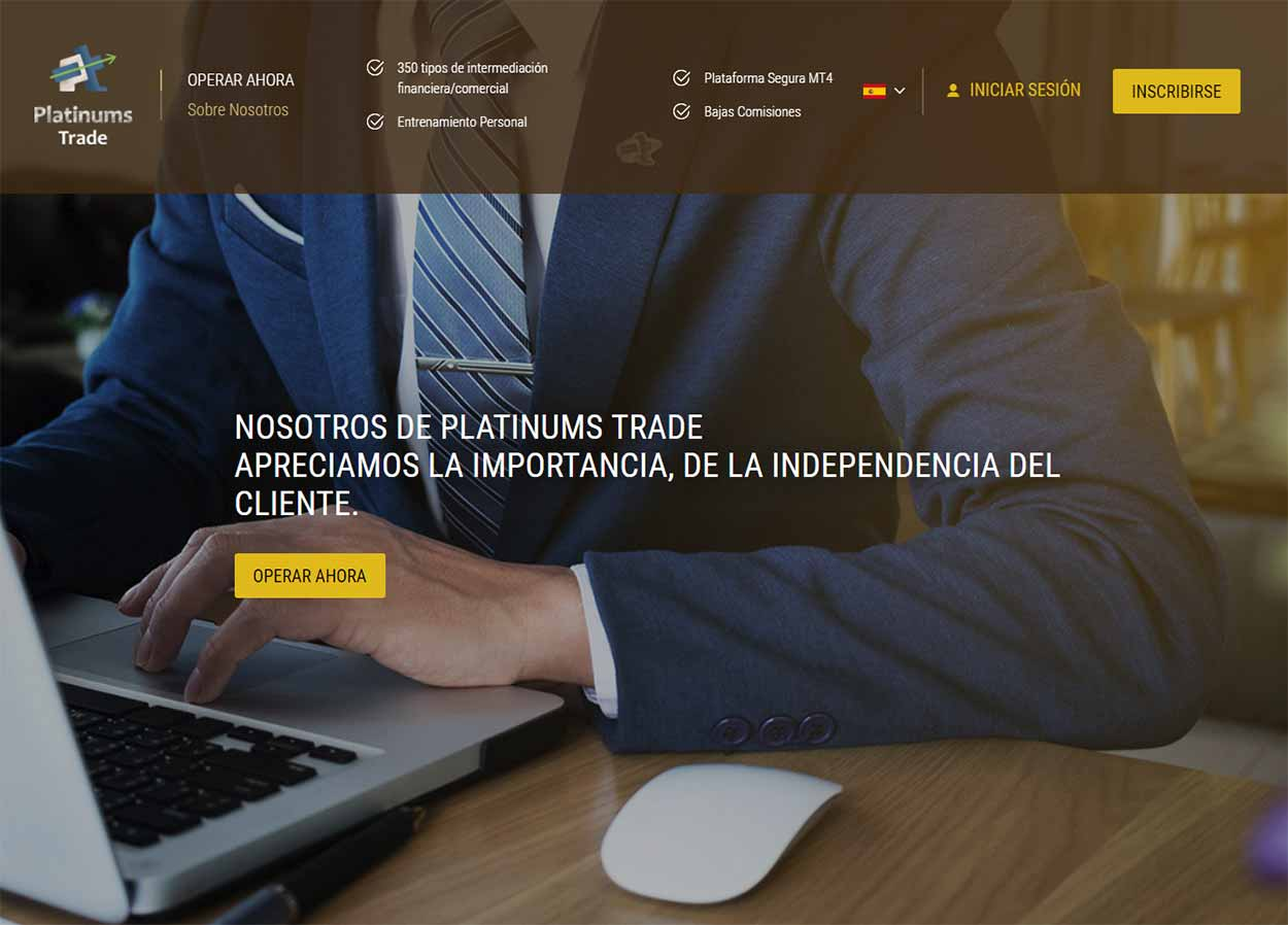 Página web de PlatinumsTrade