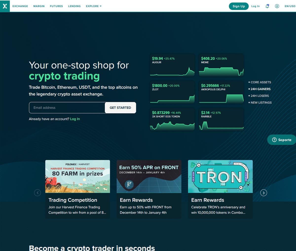 Página web de Poloniex