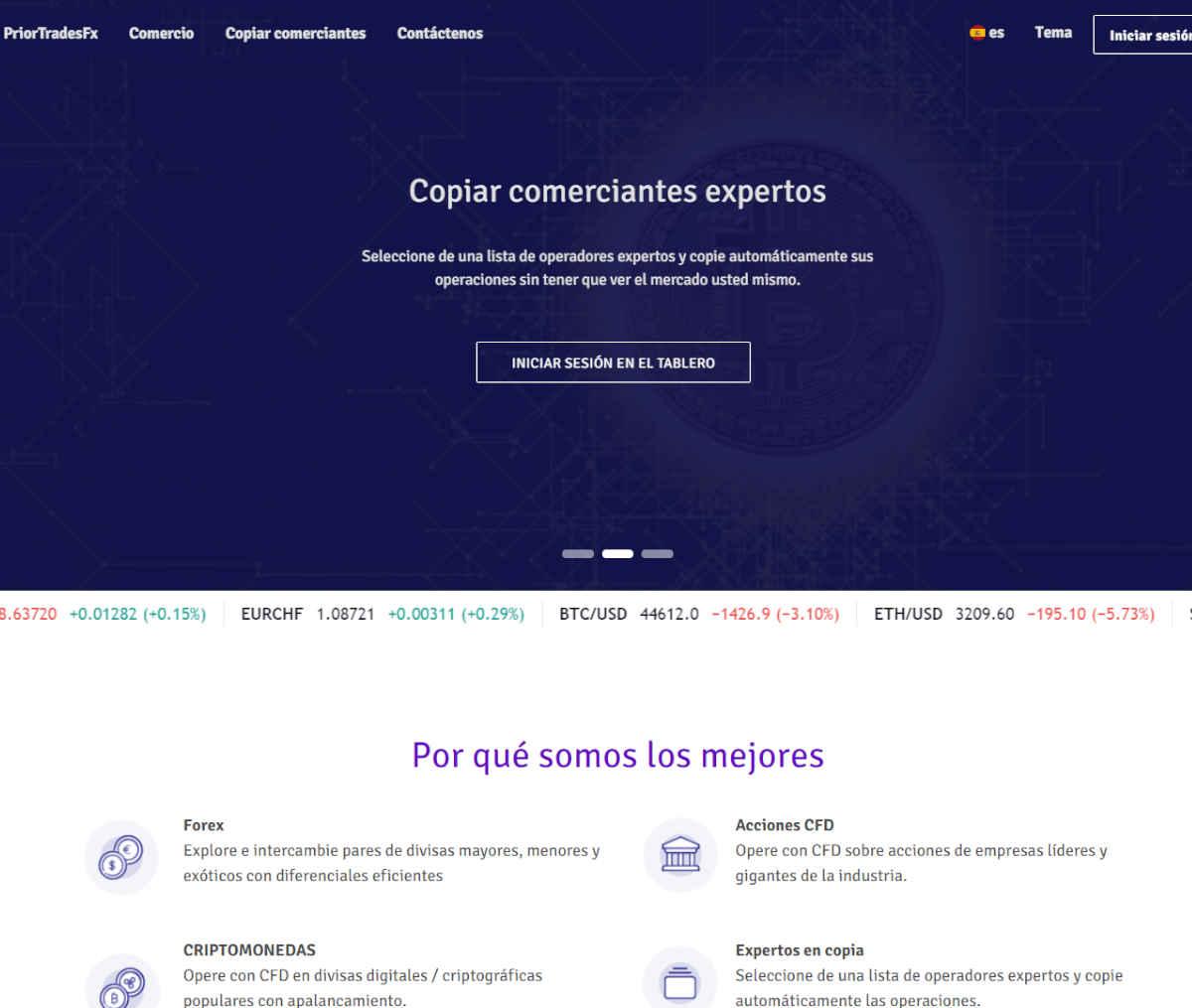 Página web de PriorTradesFx